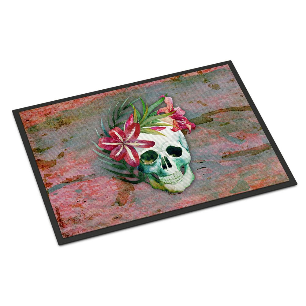 Caroline's Treasures 18 in. x 27 in. Indoor/Outdoor Day of The Dead Skull Flowers Door Mat