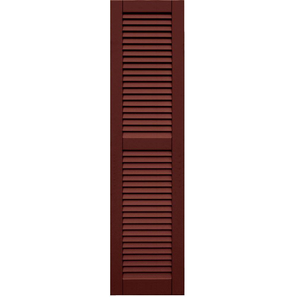 Winworks Wood Composite 15 in. x 60 in. Louvered Shutters Pair #650 Board and Batten Red