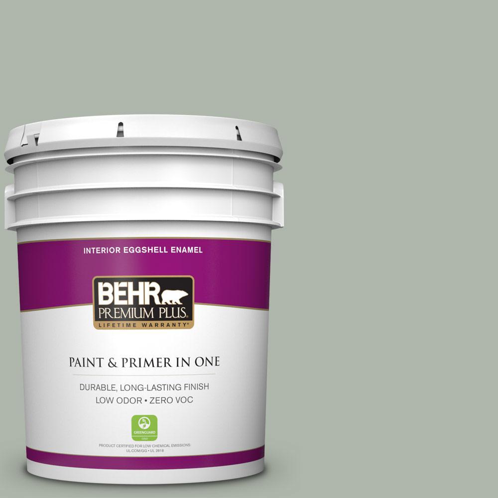 BEHR Premium Plus 5-gal. #ICC-56 Green Tea Zero VOC Eggshell Enamel Interior Paint
