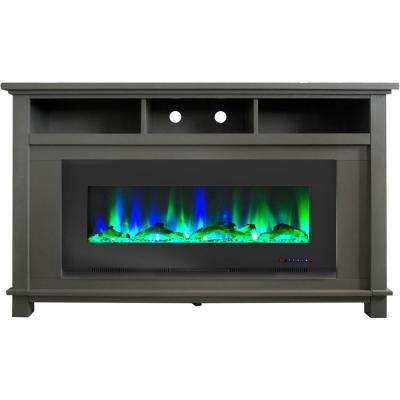 San Jose 58 in. Freestanding Electric Fireplace Entertainment Stand in Gray with 50 in. Insert and Driftwood Log Display