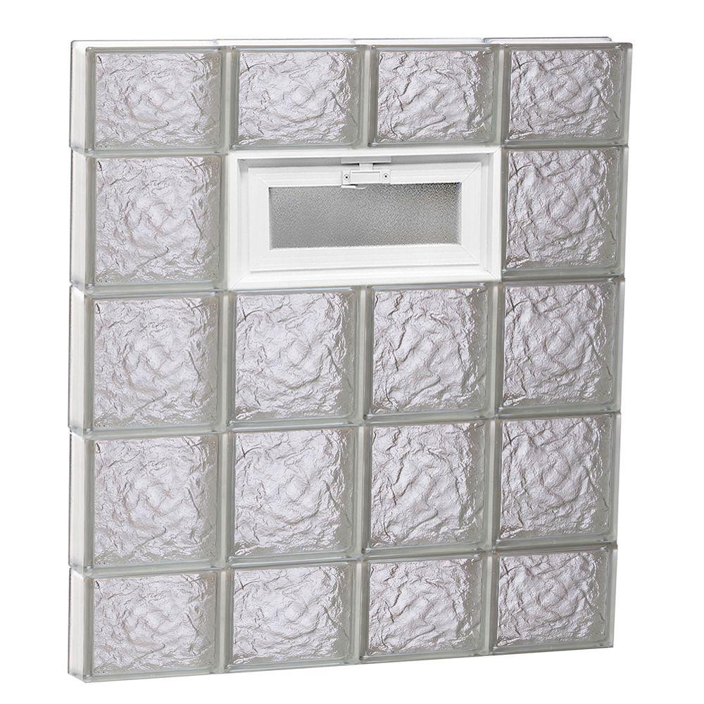 Clearly Secure 31 in. x 34.75 in. x 3.125 in. Frameless Vented Ice Pattern Glass Block Window