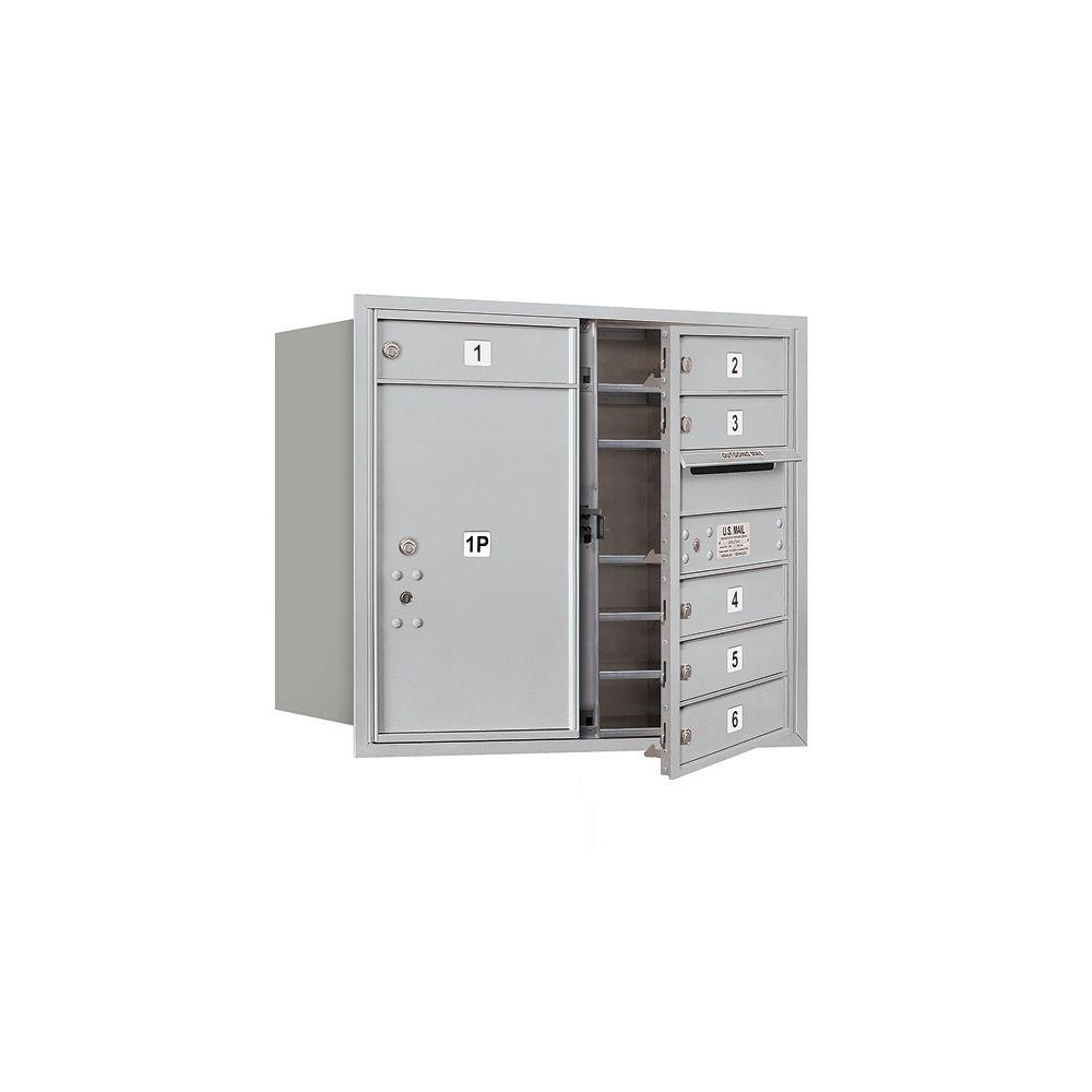 Salsbury Industries 3700 Series 27 in. 7 Door High Unit Aluminum USPS Front Loading 4C Horizontal Mailbox with 6 MB1 Doors/1 PL6
