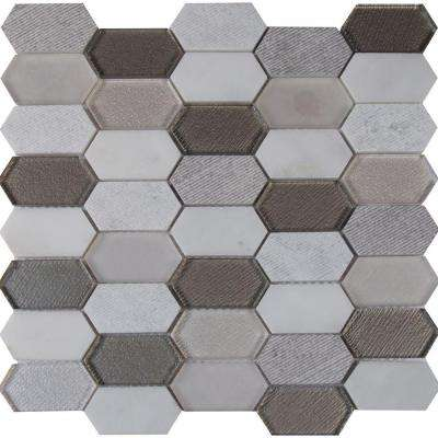 Inessa Blanco Picket Pattern 12 in. x 12 in. x 8mm Glass and Stone Mesh-Mounted Mosaic Tile (10 sq. ft. / case)