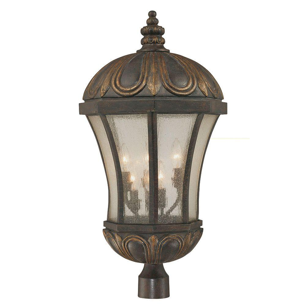 Illumine 6-Light Post Lantern Old Tuscan Pale Finish Cream Seeded Glass