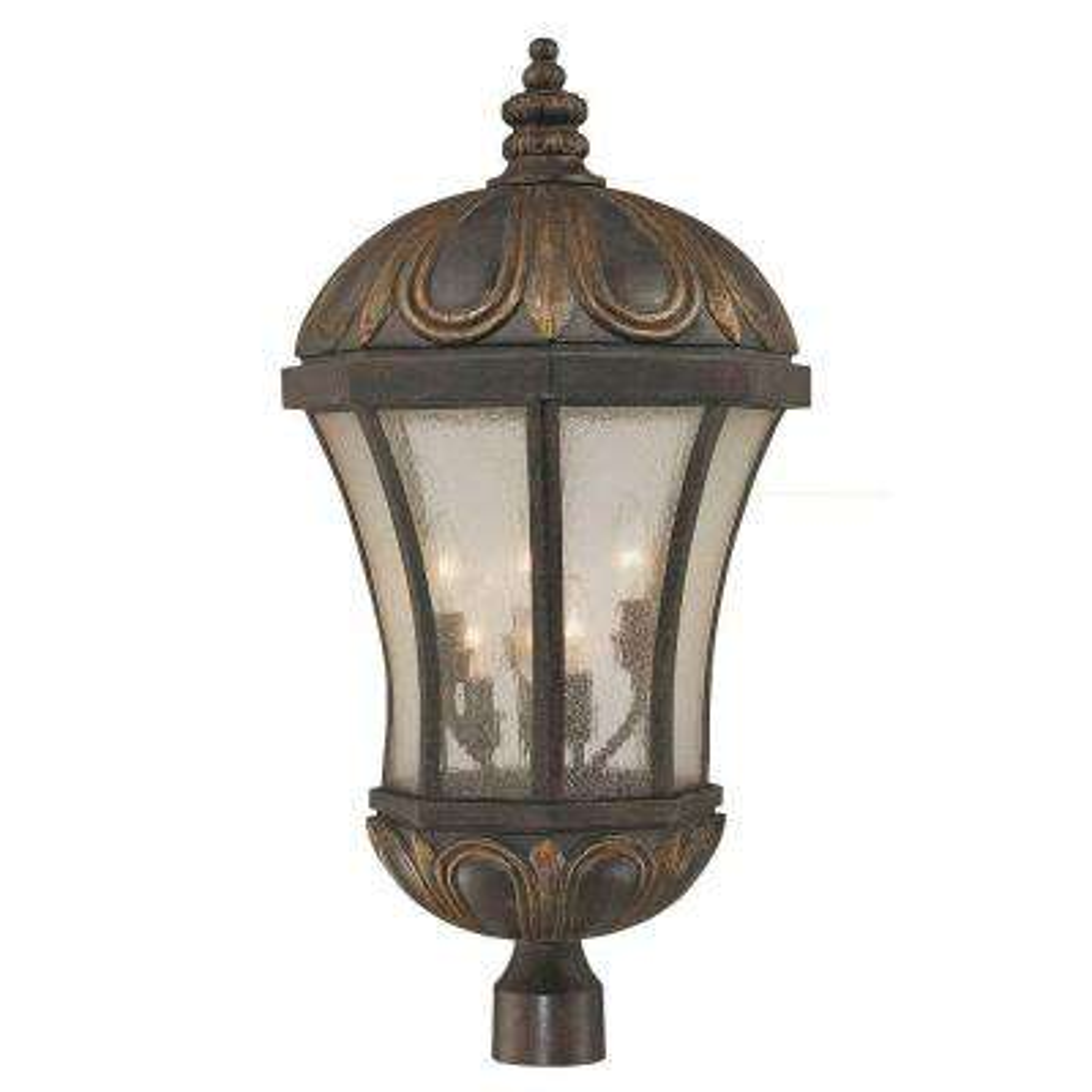 6-Light Post Lantern Old Tuscan Pale Finish Cream Seeded Glass