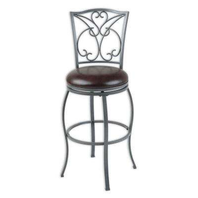 30 in. Columbia Metal Bar Stool with Chocolate Upholstered Swivel-Seat and Ash Gray Frame Finish