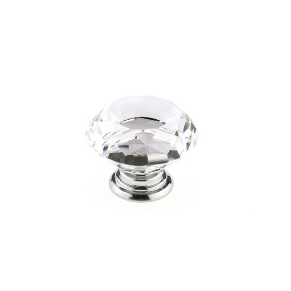 2 in. (50 mm) Clear, Chrome Contemporary Metal, Crystal Cabinet Knob