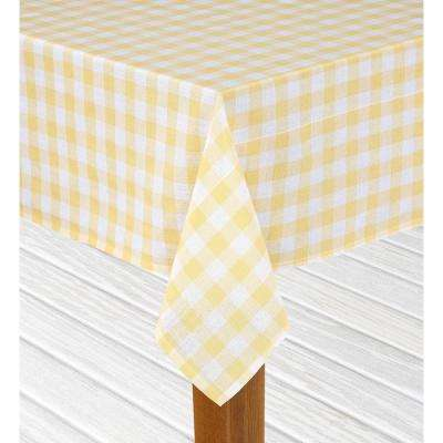 Buffalo Check 60 in. x 84 in. Yellow 100% Cotton Table Cloth for Any Table