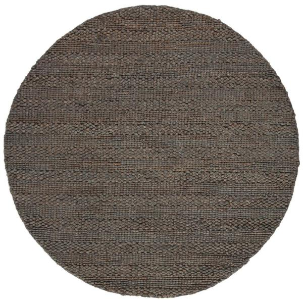 Safavieh Natural Fiber Charcoal 6 Ft X 6 Ft Round Indoor Area Rug Nf212c 6r The Home Depot
