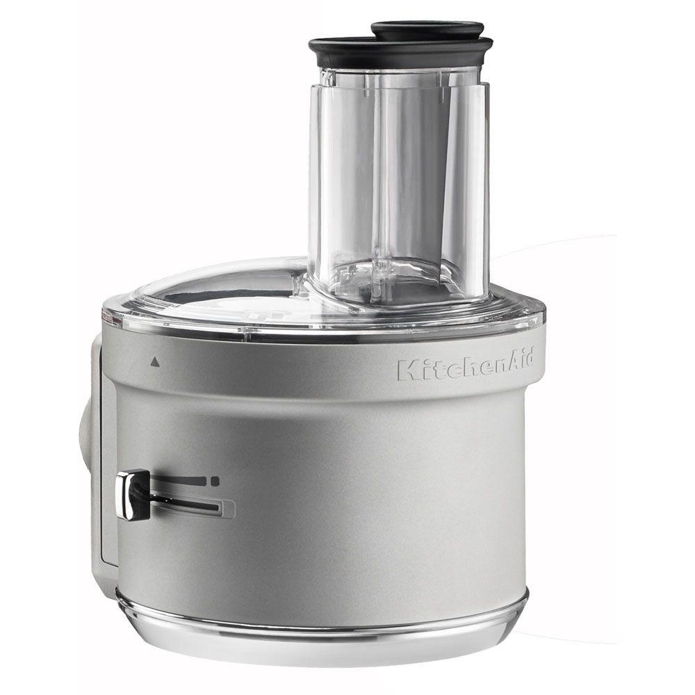 Stand Mixer Food Processor Attachment, Gray Add the Kitchen Aid KSM2FPA food processor attachment to your accessory collection. You will be able to attach it to the hub of your mixer stand and dice, slice, shred and julienne your favorite fruits, vegetables and hard cheeses. Plus, it includes a compact storage case designed to hold the dicing kit, plus the slice, shred and julienne blades. The exclusive ExactSlice system allows you to slice from thick to thin with one slide of the lever, and the wide feed tube accommodates various sizes of food for less prep work. Color: Gray.