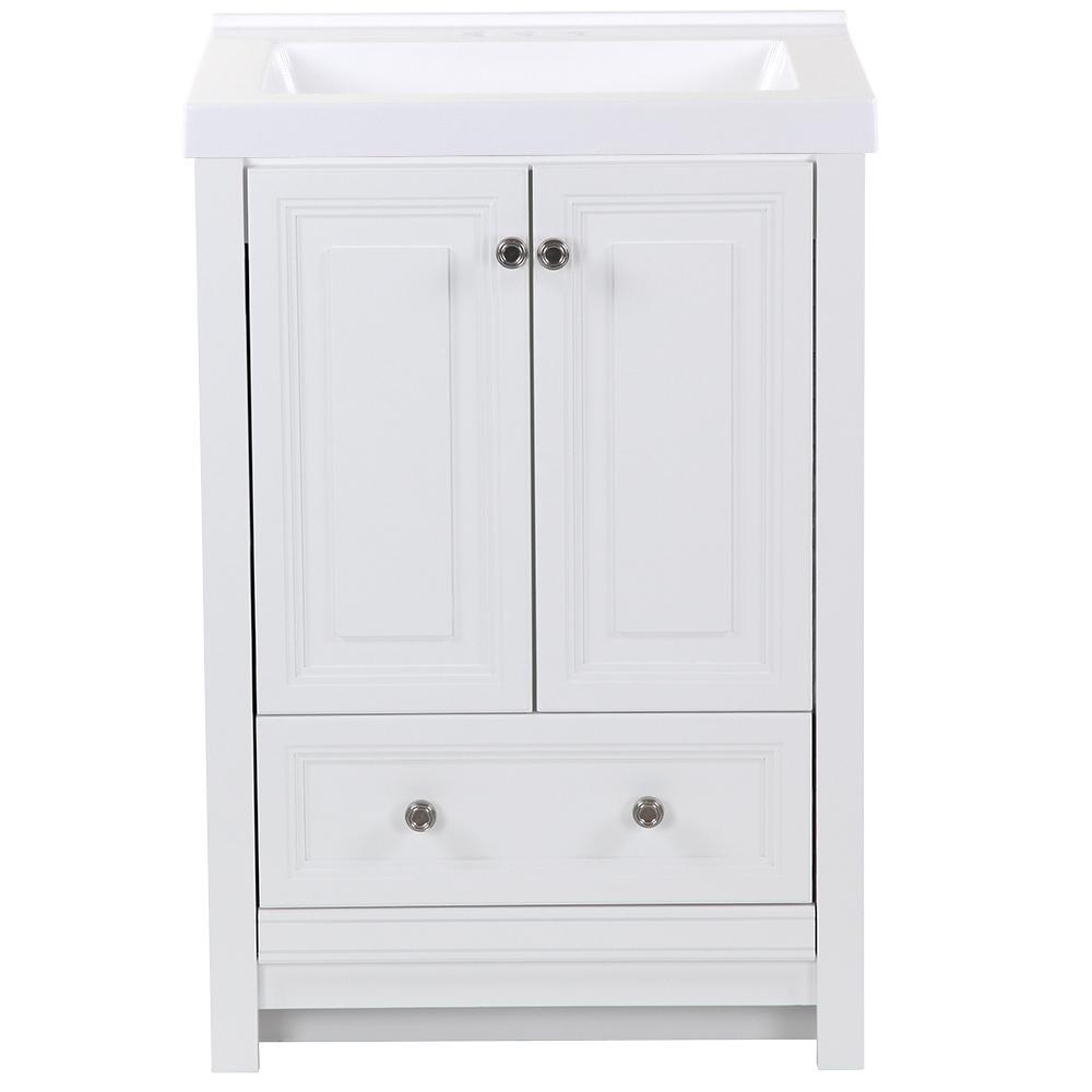 25 in. W x 22 in. D x 36.75 in. H Bath Vanity in White with Cultured Marble Vanity Top in White with White Sink