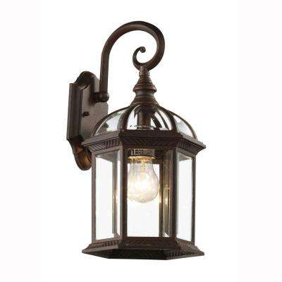 Wall Mount 1-Light Outdoor Rust Coach Lantern with Clear Glass