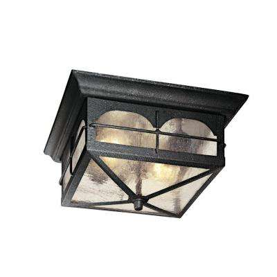 2-Light Aged Iron Outdoor Flush Mount