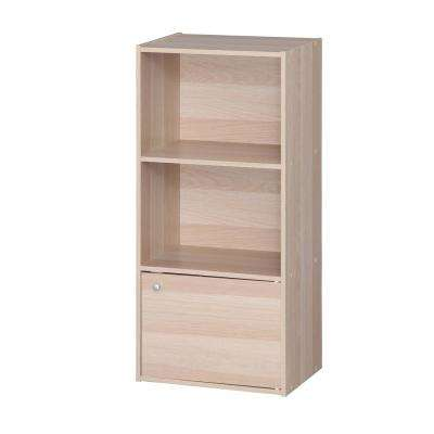 Light Brown 3 Tier Wood Storage Shelf with Door