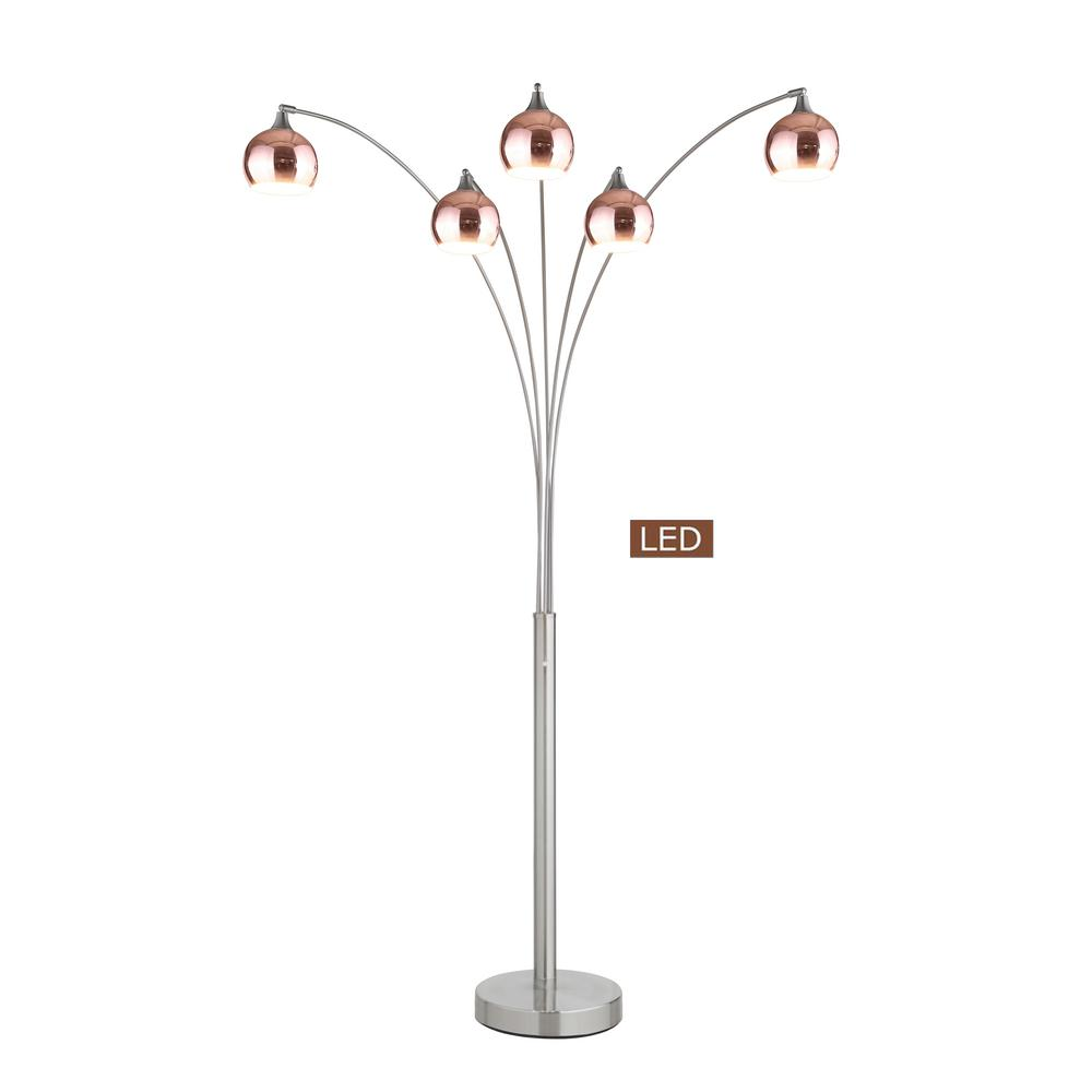 Rose Copper And Brushed Steel Led Arched Floor Lamp