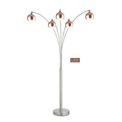 Amore 86 in. Rose Copper and Brushed Steel LED Arched Floor Lamp