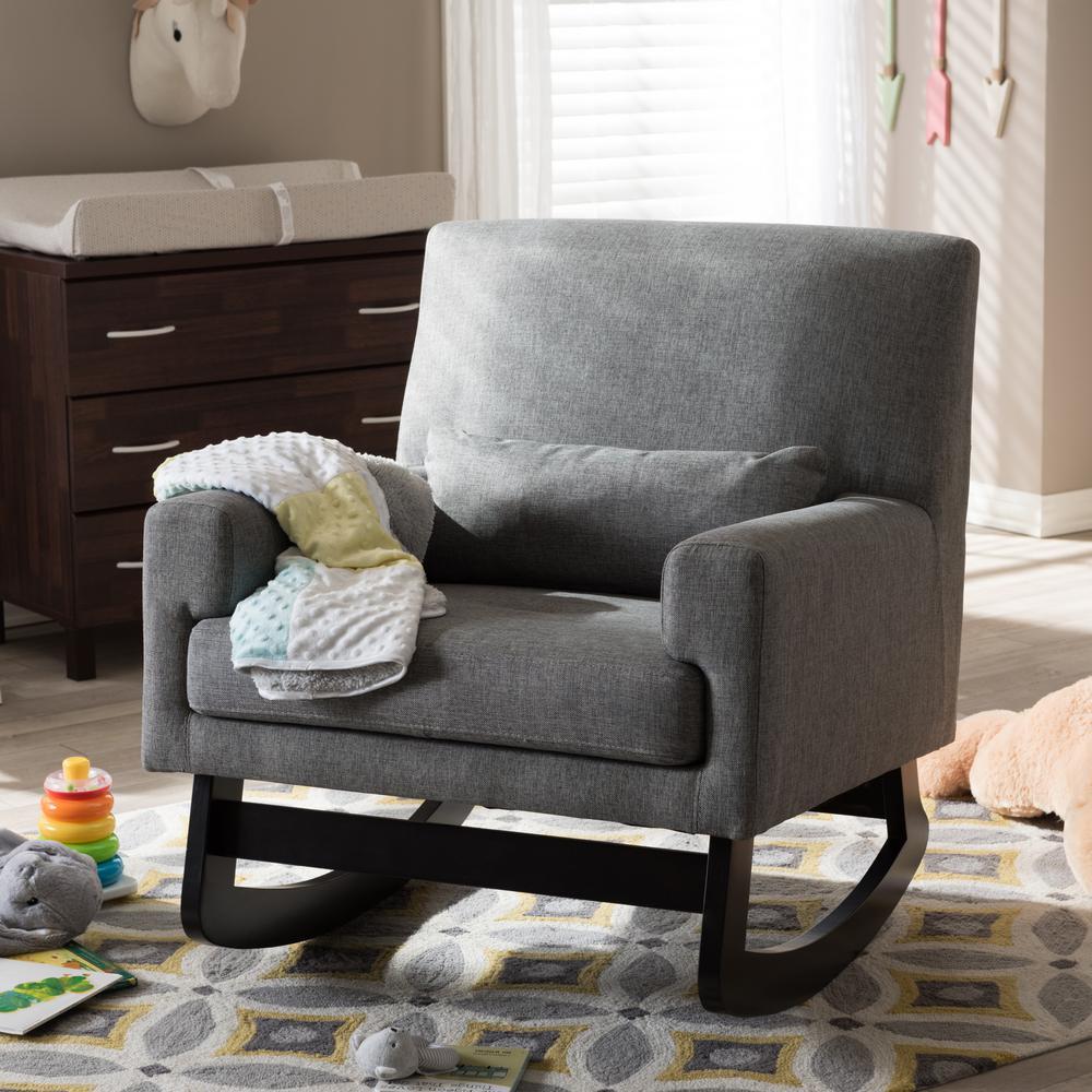 Baxton Studio Blas Grey Fabric Rocking Arm Chair