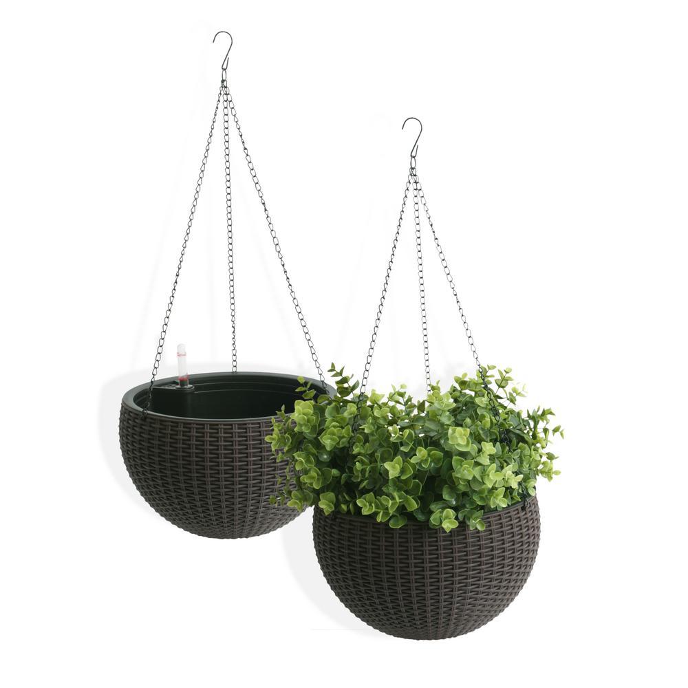 Self-Watering Wicker Brown Plastic Hanging Planter (2-Pack)