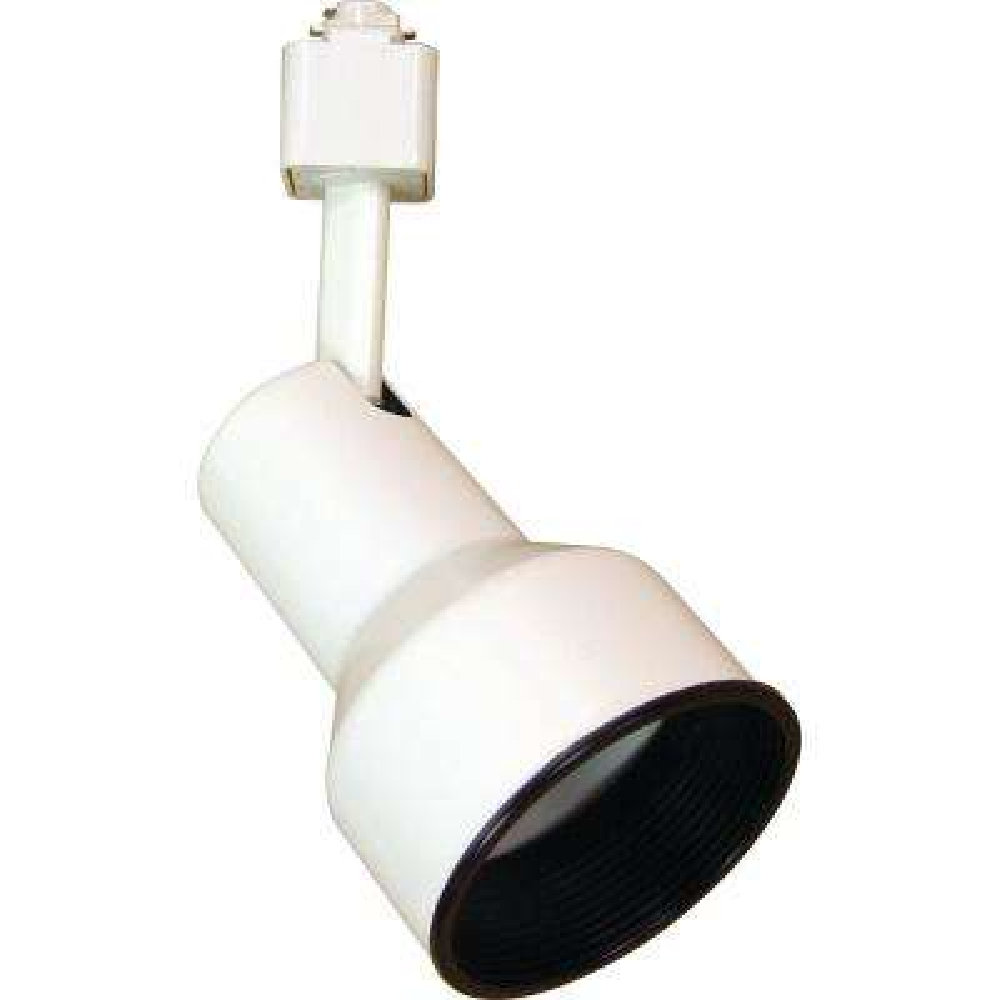 1-Light White Adjustable Large Continental/Step Cylinder Track Lighting Head