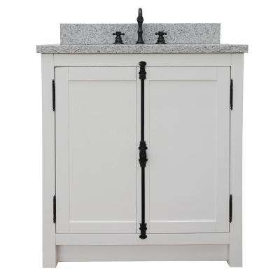 Plantation 31 in. W x 22 in. D Bath Vanity in White with Granite Vanity Top in Gray with White Rectangle Basin