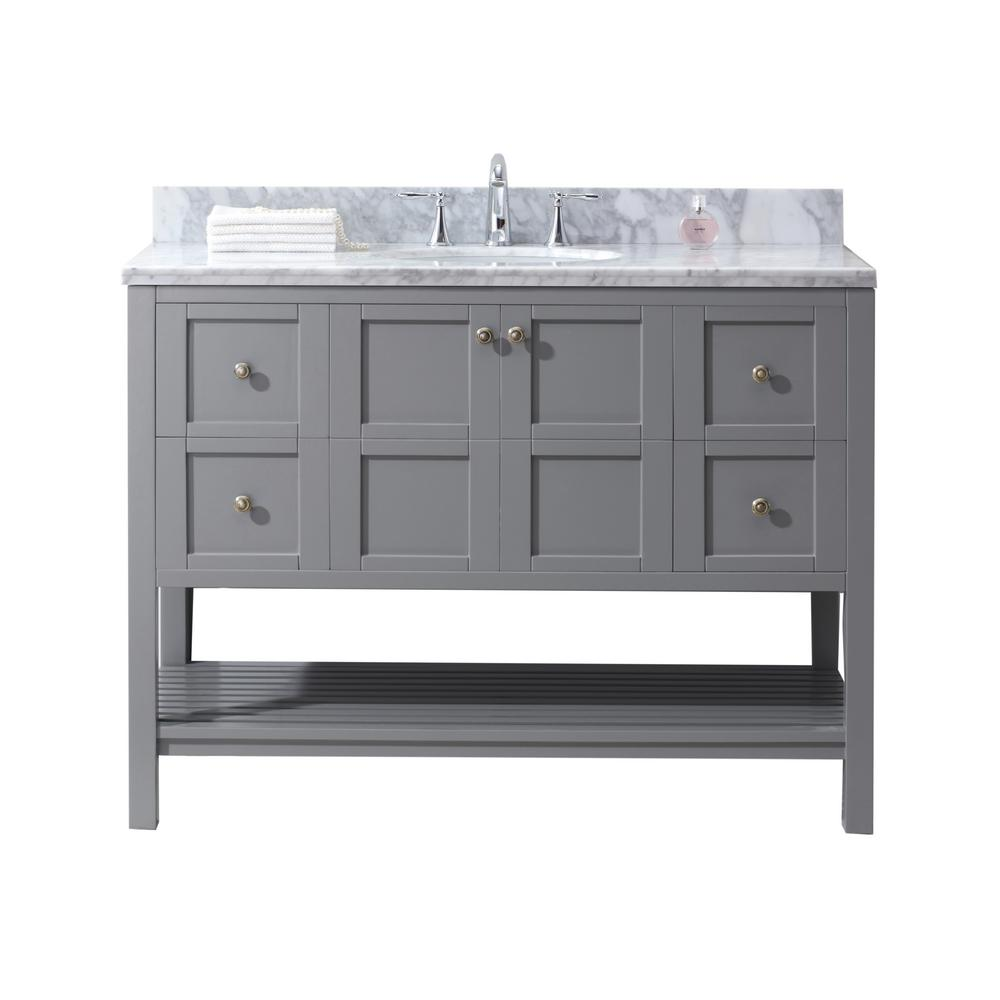 Virtu USA Winterfell 49 in. W Bath Vanity in Gray with Marble Vanity Top in White with Round Basin