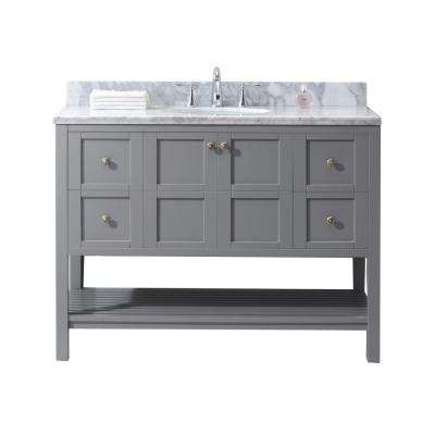 Winterfell 48 in W x 22 in D Vanity in Grey with Marble Vanity