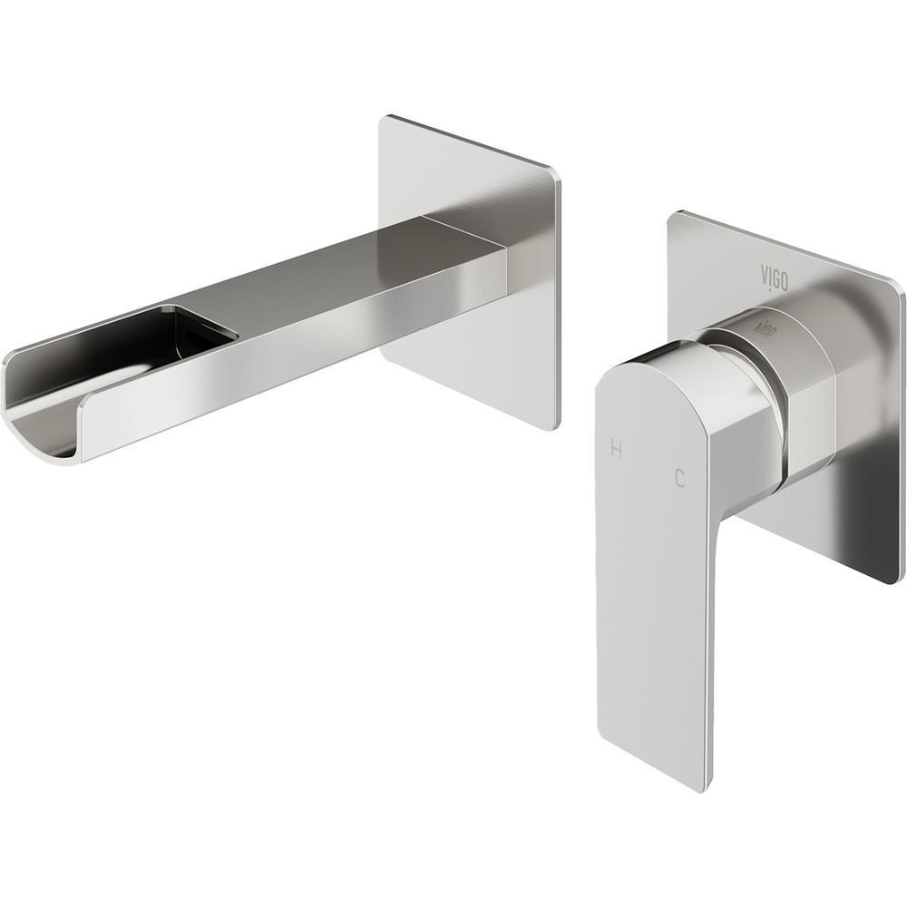 Atticus Single-Handle Wall Mount Bathroom Faucet in Brushed Nickel