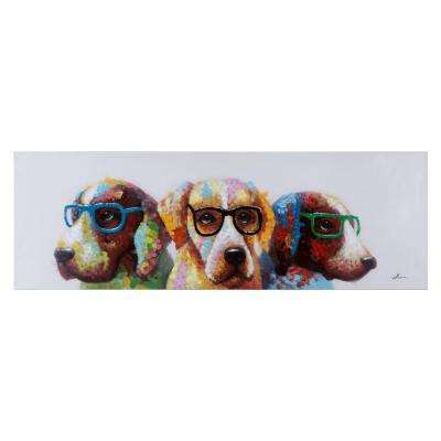 """20 in. H x 60 in. W """"Cool Dogs"""" Artwork in Acrylic Canvas Wall Art"""