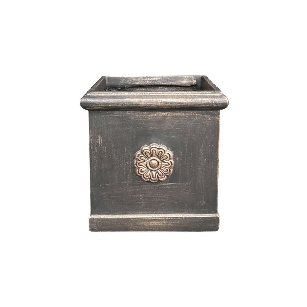 Medium 11.4 in. x 11.4 in. x 11.8 in. Bronze Lightweight Concrete Chrysantemum Square Planter