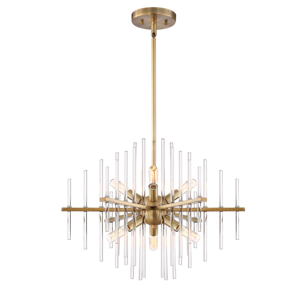 Reeve 6-Light Brushed Antique Bronze Chandelier with Clear Glass Rods Shade