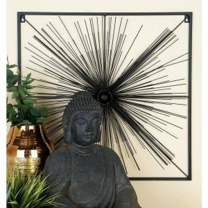 Modern Black Iron Radial and Round Centerpiece Framed Wall Decor by