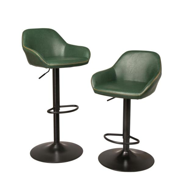 Glitzhome S/2 Mid-Century Modern Vintage Hunter Green Leatherette Gaslift