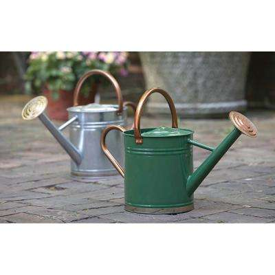 1 Gal. Hunter Green Watering Can with Copper Accents