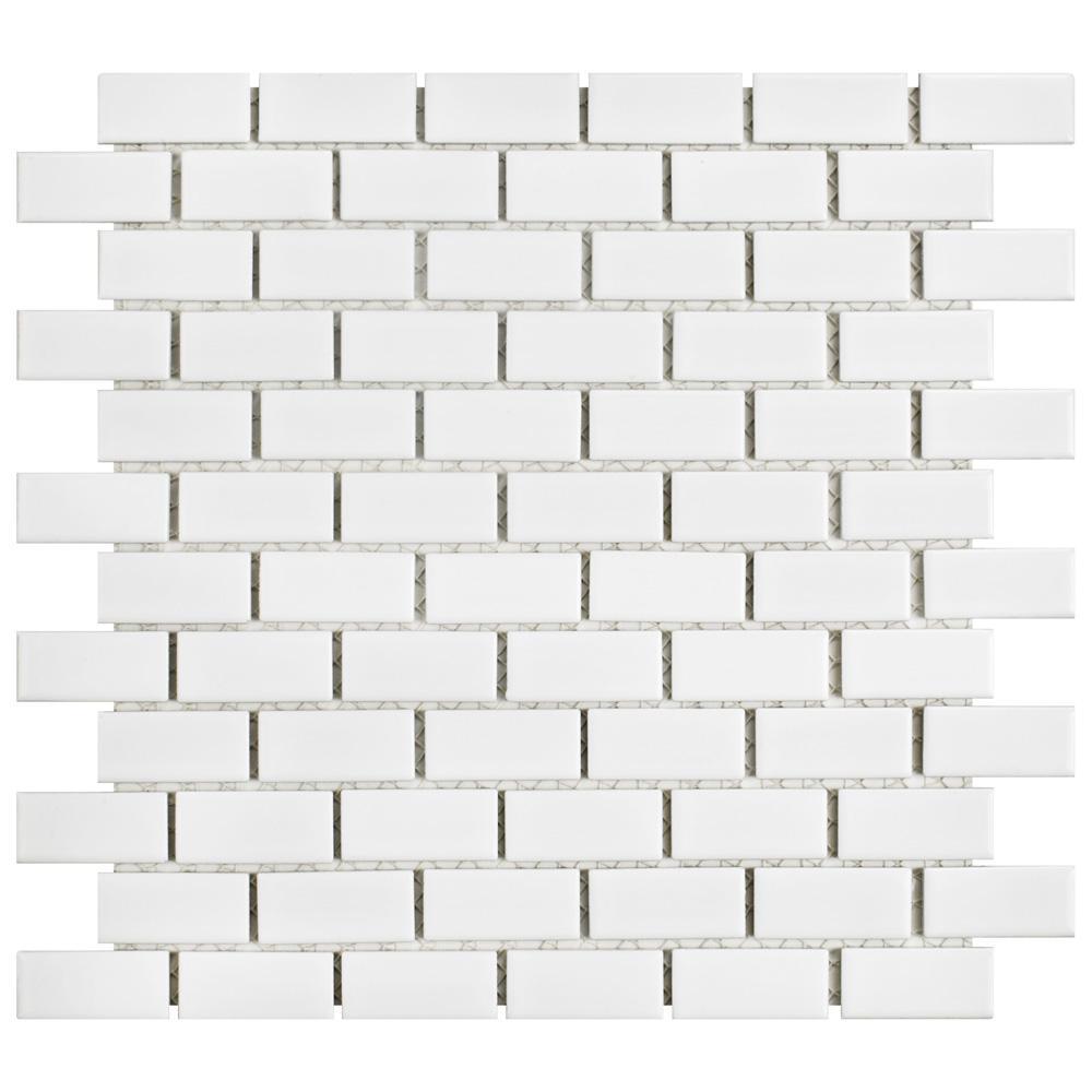 Hudson Subway White 11-7/8 in. x 12 in. x 6 mm Porcelain Mosaic Tile