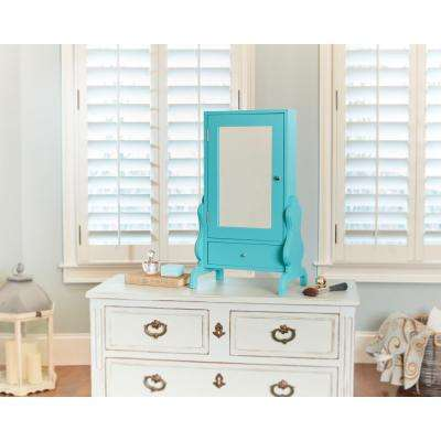 Turquoise Tabletop Mirror with Jewelry Storage