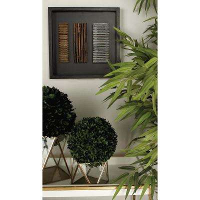15 in. x 15 in. Modern MDF Wall Panel with Abstract Rustic Bamboo Stick Art in Matte Black Finish (3-Pack)