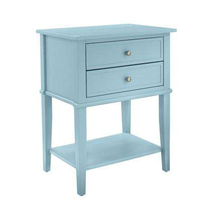 Queensbury Blue Accent Table with 2-Drawers
