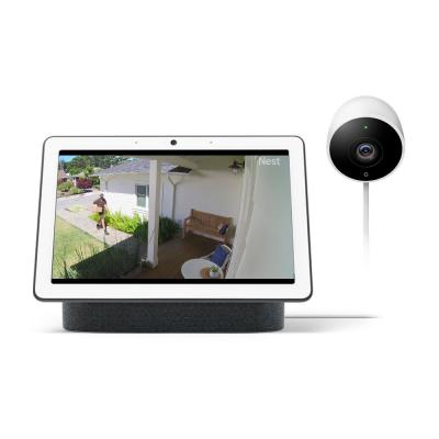 Nest Hub Max in Charcoal and Nest Cam Outdoor Security Camera