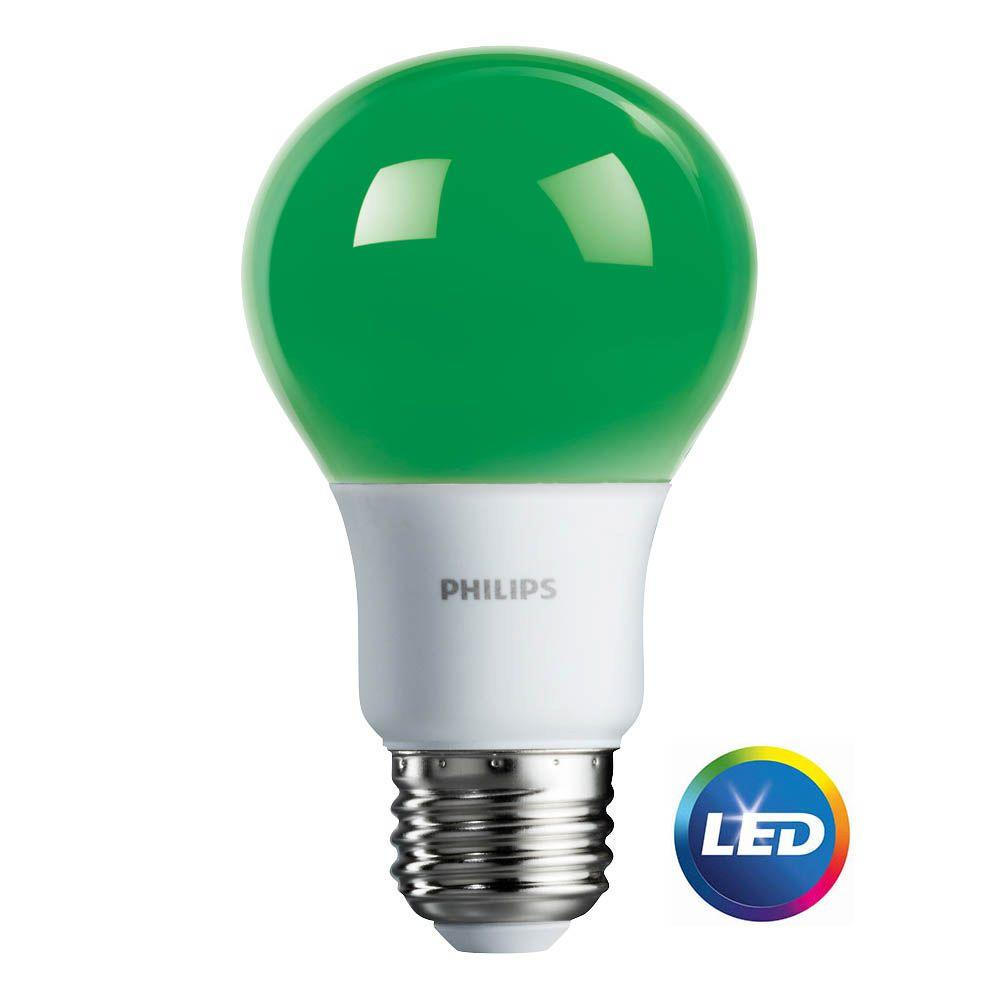 Philips 60-Watt Equivalent A19 Non-Dimmable Green LED Colored Light Bulb
