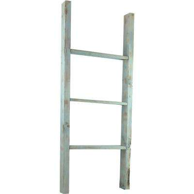 15 in. x 36 in. x 3 1/2 in. Barnwood Decor Collection Salvage Red Vintage Farmhouse 2-Rung Ladder