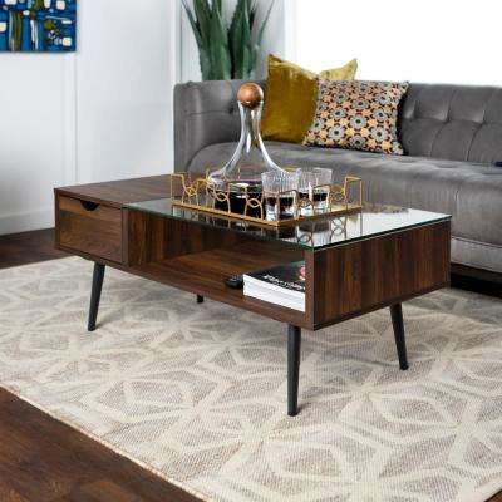 Dark Walnut Wood and Glass Coffee Table