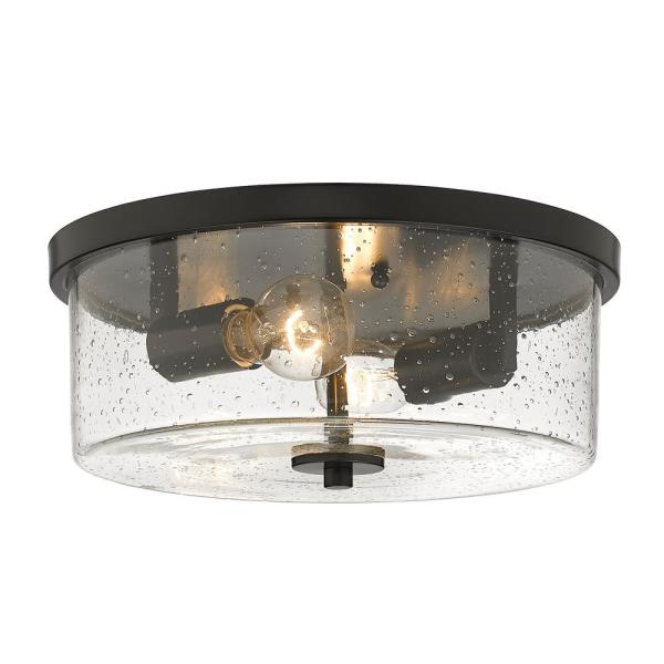 Rayne 13 in. 2-Light Matte Black Flush Mount