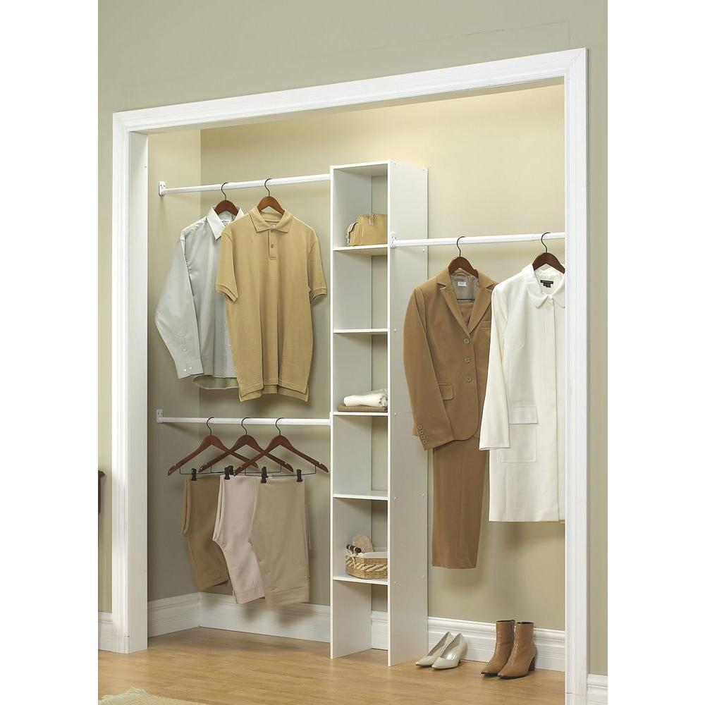 D X 12 In W 83 H White Custom Laminate Closet System Organizer