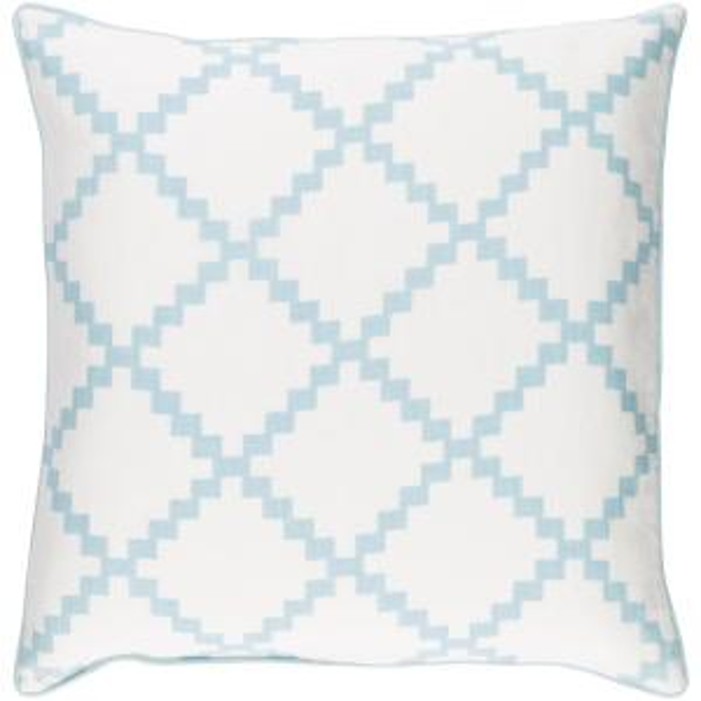 Sibiu Light Blue Geometric Polyester 20 in. x 20 in. Throw Pillow