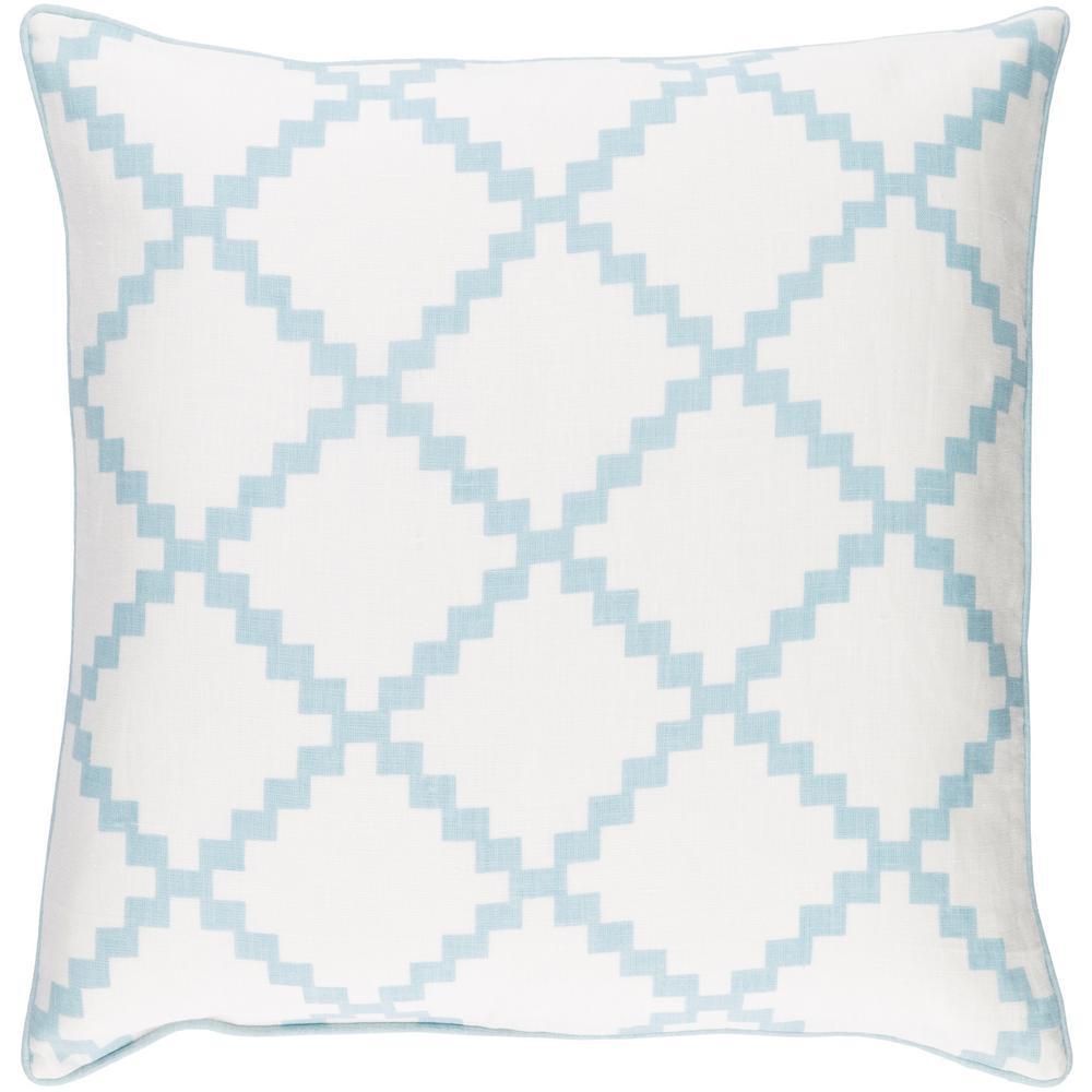 Sibiu Light Blue Geometric Polyester 22 in. x 22 in. Throw Pillow