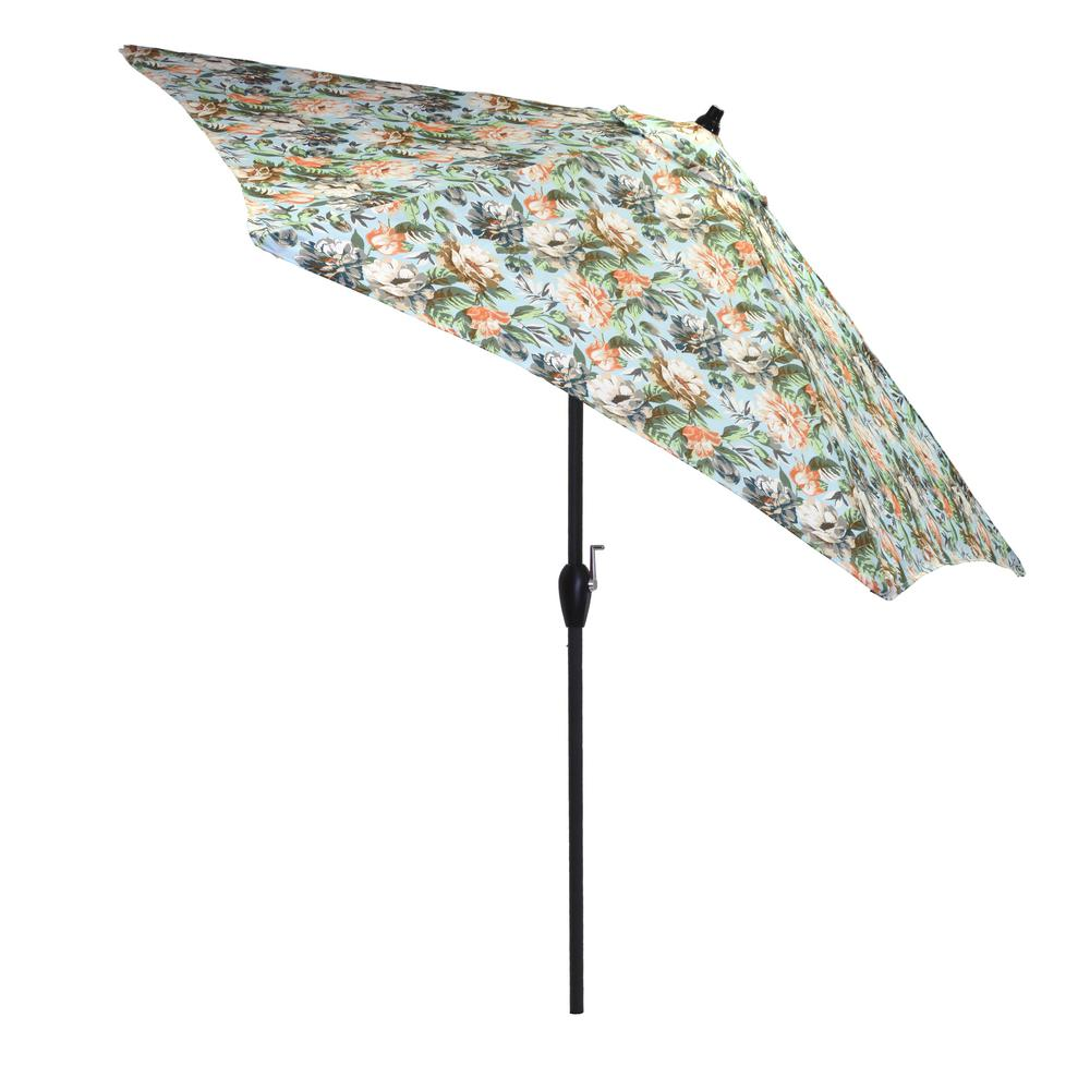 9 ft. Aluminum Market Tilt Patio Umbrella in Charleston Floral