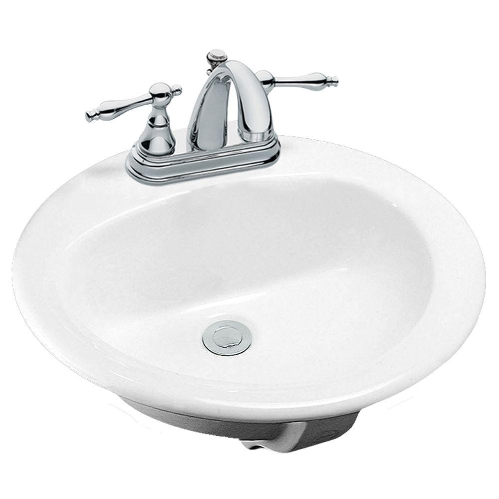 Glacier Bay Drop-In Bathroom Sink in White