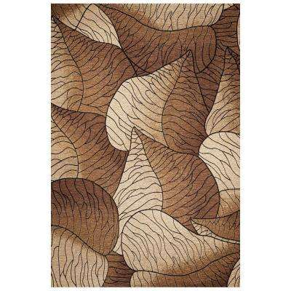 Leaf Motif Beige/Mocha 5 ft. x 8 ft. Area Rug