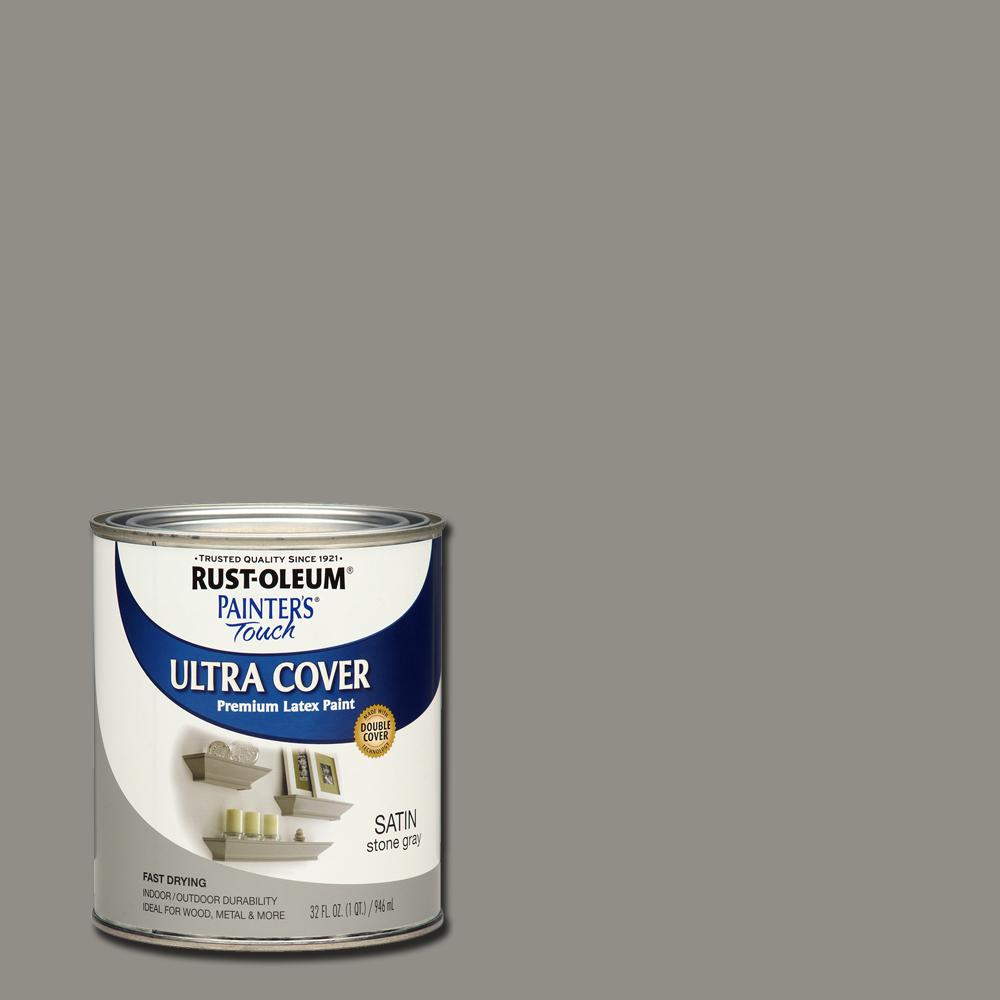 Rust-Oleum Painter's Touch 32 oz. Ultra Cover Satin Stone Gray General Purpose Paint (Case of 2)