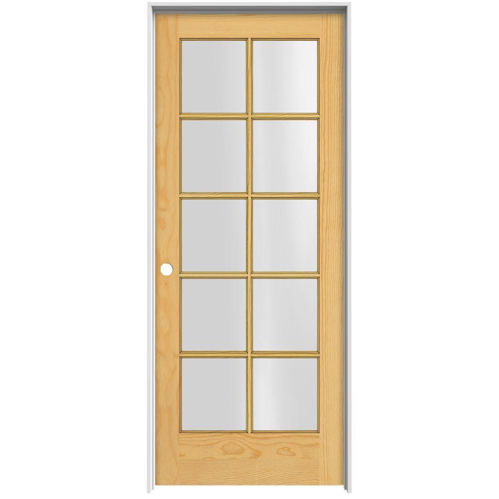 JELD-WEN Woodgrain 10-Lite Unfinished Pine Prehung Interior Door with Primed Jamb-DISCONTINUED
